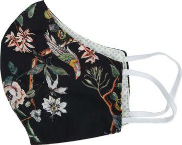 Suitable Uitwasbaar Mondkapje Bloemen Zwart