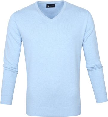 Suitable Vini Pullover V-Hals Lichtblauw