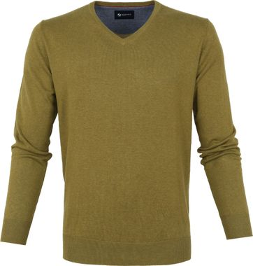 Suitable Vini Pullover V-Hals Olijfgroen