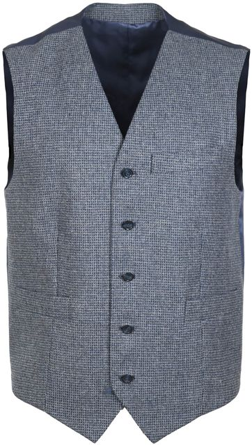 Suitable Waistcoat Marzo Checks Dark Grey
