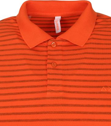 Sun68 Polo Cold Dye Stripes Oranje