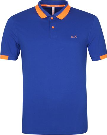 Sun68 Polo Shirt Big Stripes Blue
