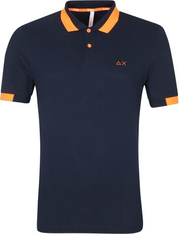 Sun68 Polo Shirt Big Stripes Navy