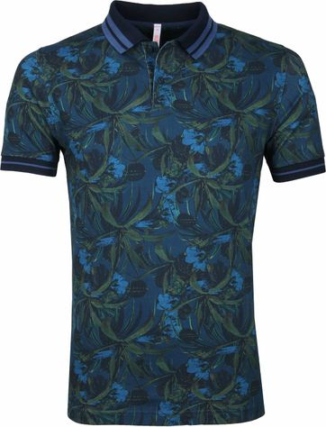 Sun68 Polo Shirt Dark blue Print