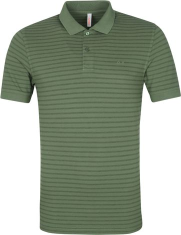 Sun68 Polo Shirt Dye Stripes Olive Green