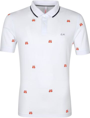 Sun68 Polo Shirt Logo Crab White