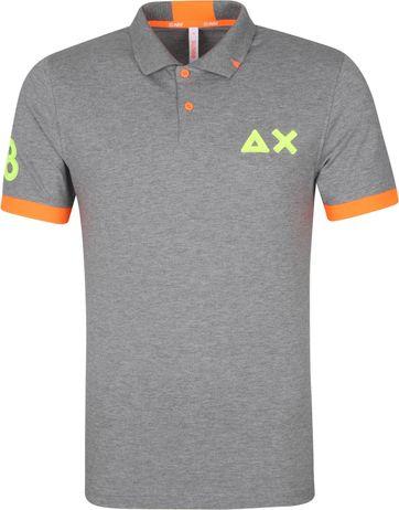 Sun68 Polo Shirt Logo Fluo Grau