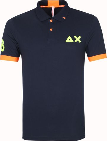 Sun68 Polo Shirt Logo Fluo Navy