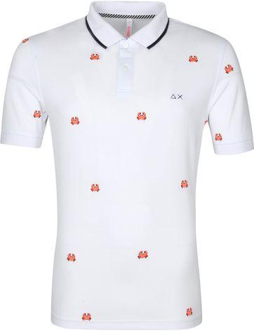 Sun68 Polo Shirt Logo Krabbe Weiß
