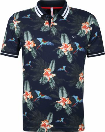 Sun68 Polo Shirt Navy Print