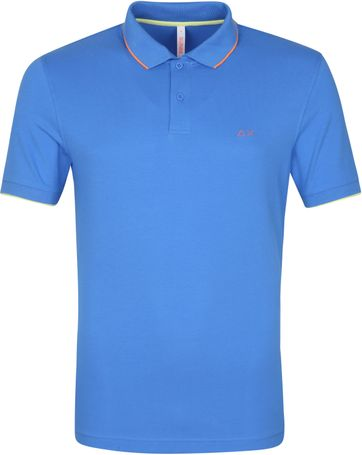 Sun68 Polo Shirt Small Stripes Blue