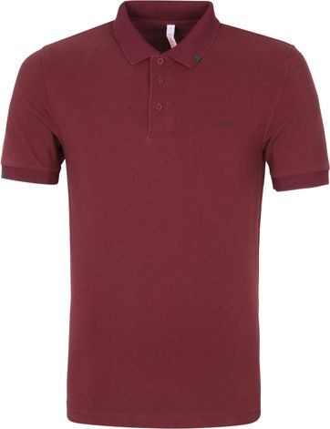 Sun68 Polo Shirt Vintage Solid Bordeaux Red