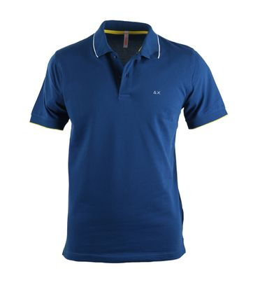 Sun68 Poloshirt Blauw + Geel