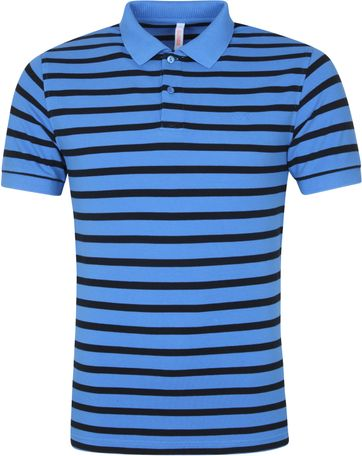 Sun68 Poloshirt Cold Dye Stripes Blau