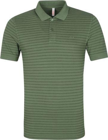 Sun68 Poloshirt Cold Dye Stripes Olive Grun