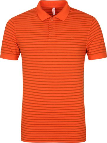 Sun68 Poloshirt Cold Dye Stripes Orange