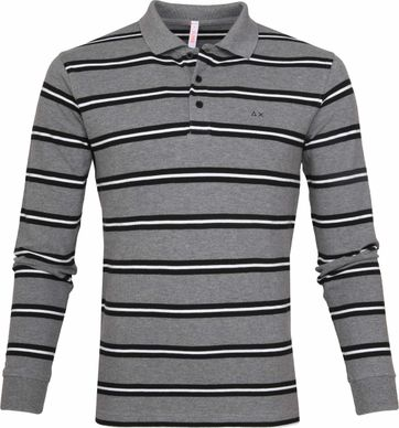 Sun68 Poloshirt LS Stripes Grey