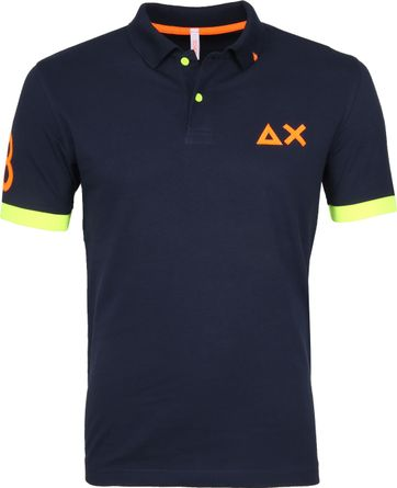 Sun68 Poloshirt Patch Fluo Navy