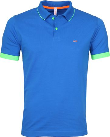 Sun68 Poloshirt Small Stripes Fluo Cobalt