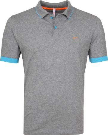 Sun68 Poloshirt Small Stripes Fluo Grey
