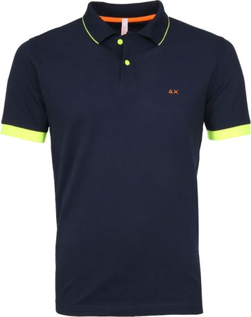 Sun68 Poloshirt Small Stripes Fluo Navy