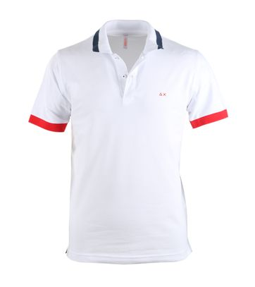 Sun68 Poloshirt White + Red