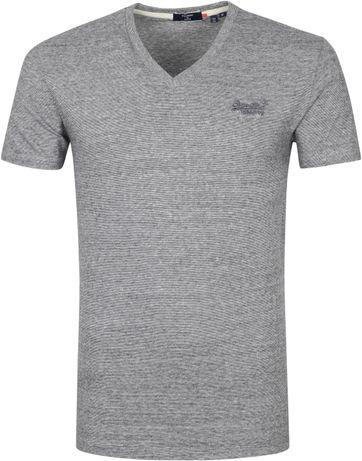 Superdry Classic T Shirt V-Ausschnitt Grau