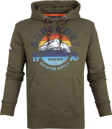Superdry Mountain Hoodie Donkergroen