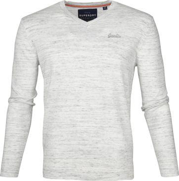 Superdry Pullover V-Ausschnitt Melange Hellgrau