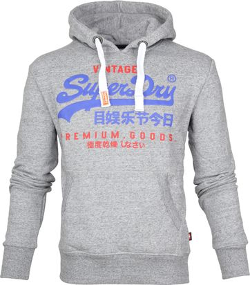 Superdry Sweater Duo Hood Grijs