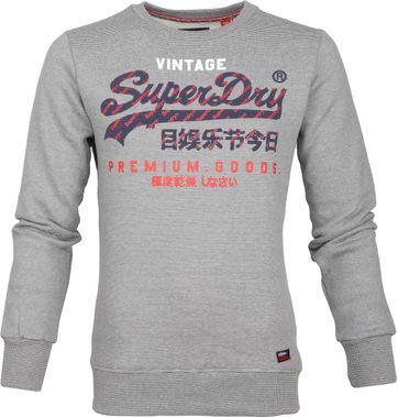 Superdry Sweater Racer Streifen Grau