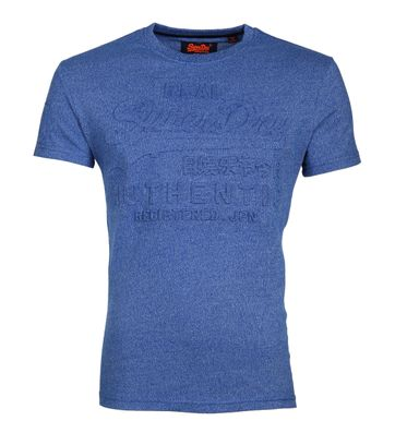 Superdry T-Shirt Authentic Embossed Blau