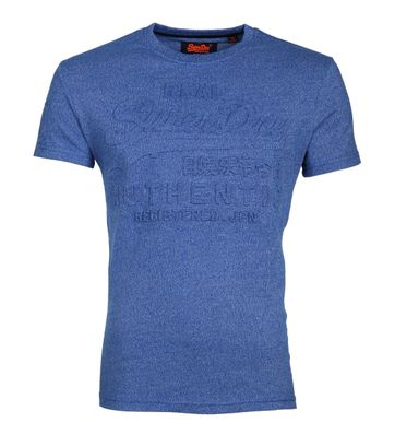 Superdry T-Shirt Authentic Embossed Blauw