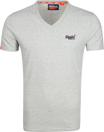Superdry T-shirt V-Ausschnitt Grau