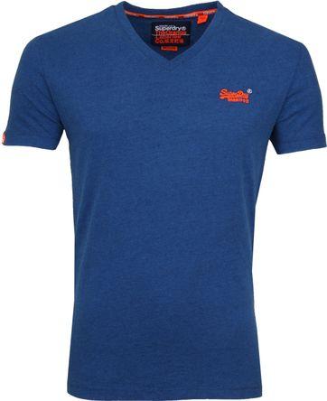 Superdry T-Shirt V-hals Kobalt