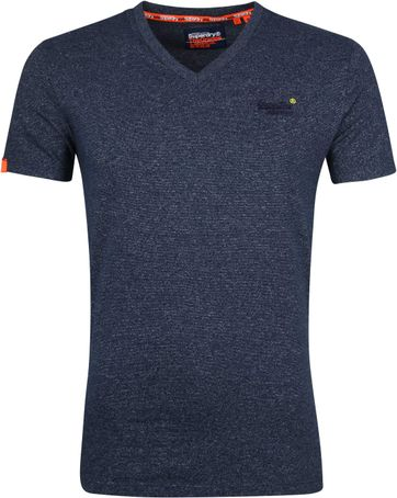 Superdry T-shirt V-hals Navy Strepen
