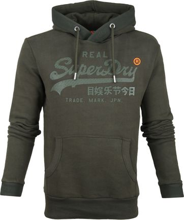 Superdry Tonal Tape Hoodie Dark Green