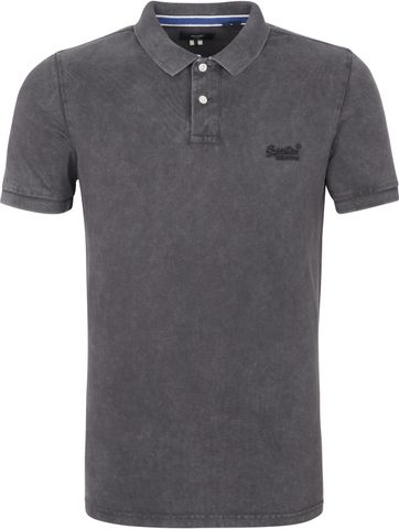 Superdry Vintage Destroyed Pique Polo Antraciet