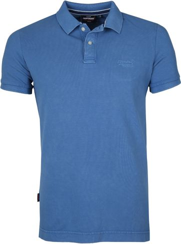 Superdry Vintage Destroyed Pique Poloshirt Mid Blue