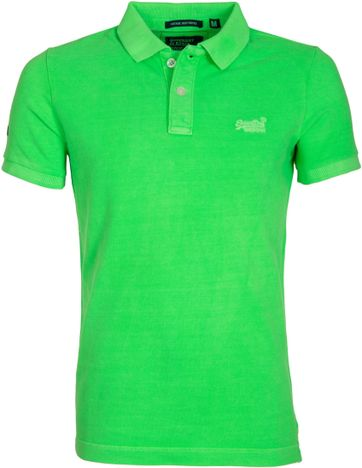 Superdry Vintage Destroyed Polo Neon Green