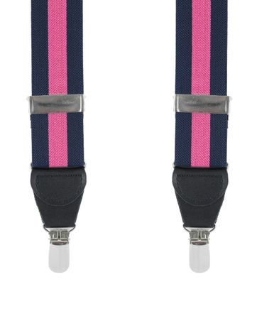 Suspenders Navy Pink Stripe