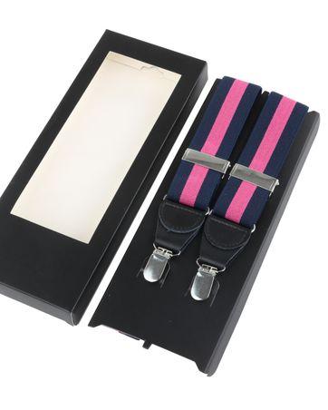Suspenders Navy Pink Stripe