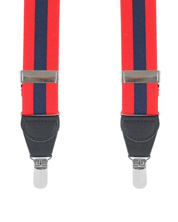 Suspenders Red Navy Striped