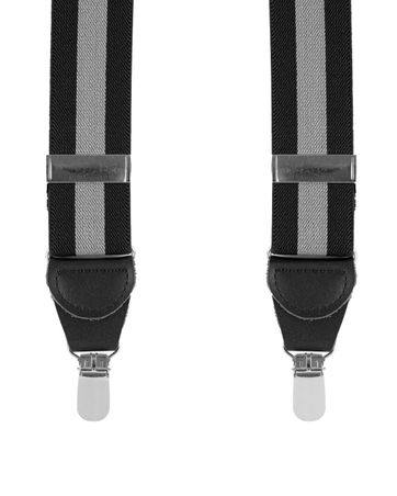 Suspenders Striped Black + Grey