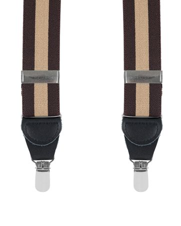 Suspenders Striped Brown + Camel