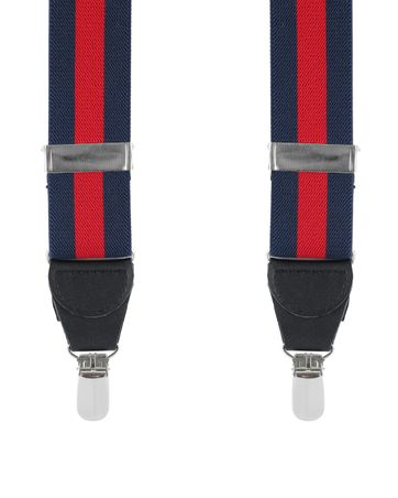 Suspenders Striped Navy + Red