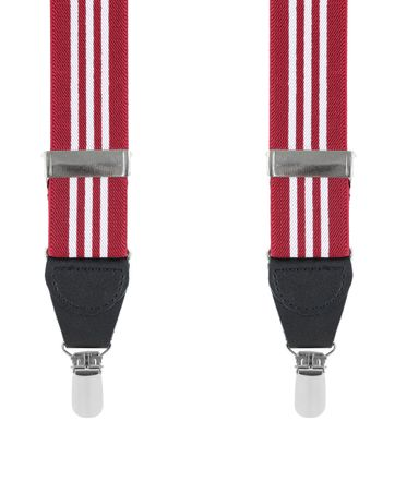 Suspenders White Bordeaux Striped