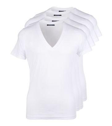 T-Shirt Tiefer V-Ausschnitt 4-Pack Stretch Weiß