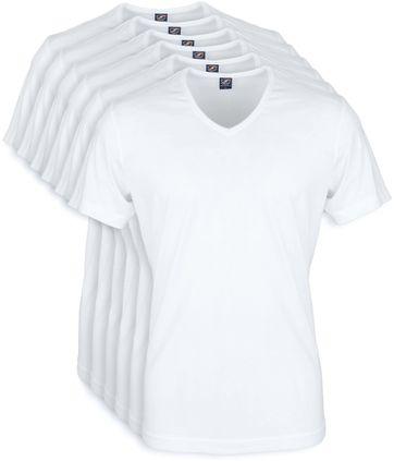 T-Shirt V-Ausschnitt 6-Pack (6 Stück) Weiß