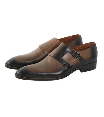 Taupe Leder Schuh Doppel Strap